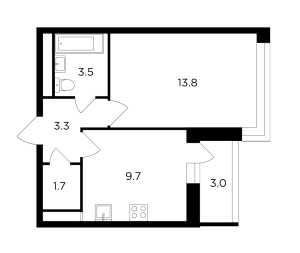 Планировка 1-комнатной квартиры в Авентин